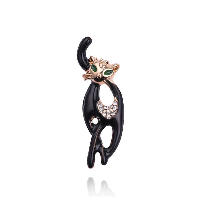 Fashion Elegan Hitam Panjang Ekor Kucing Pin Bros Wanita Bertatahkan Berlian Imitasi Hijau Mata Enamel Ekor Panjang Pin Anjing Hewan Bros perhiasan