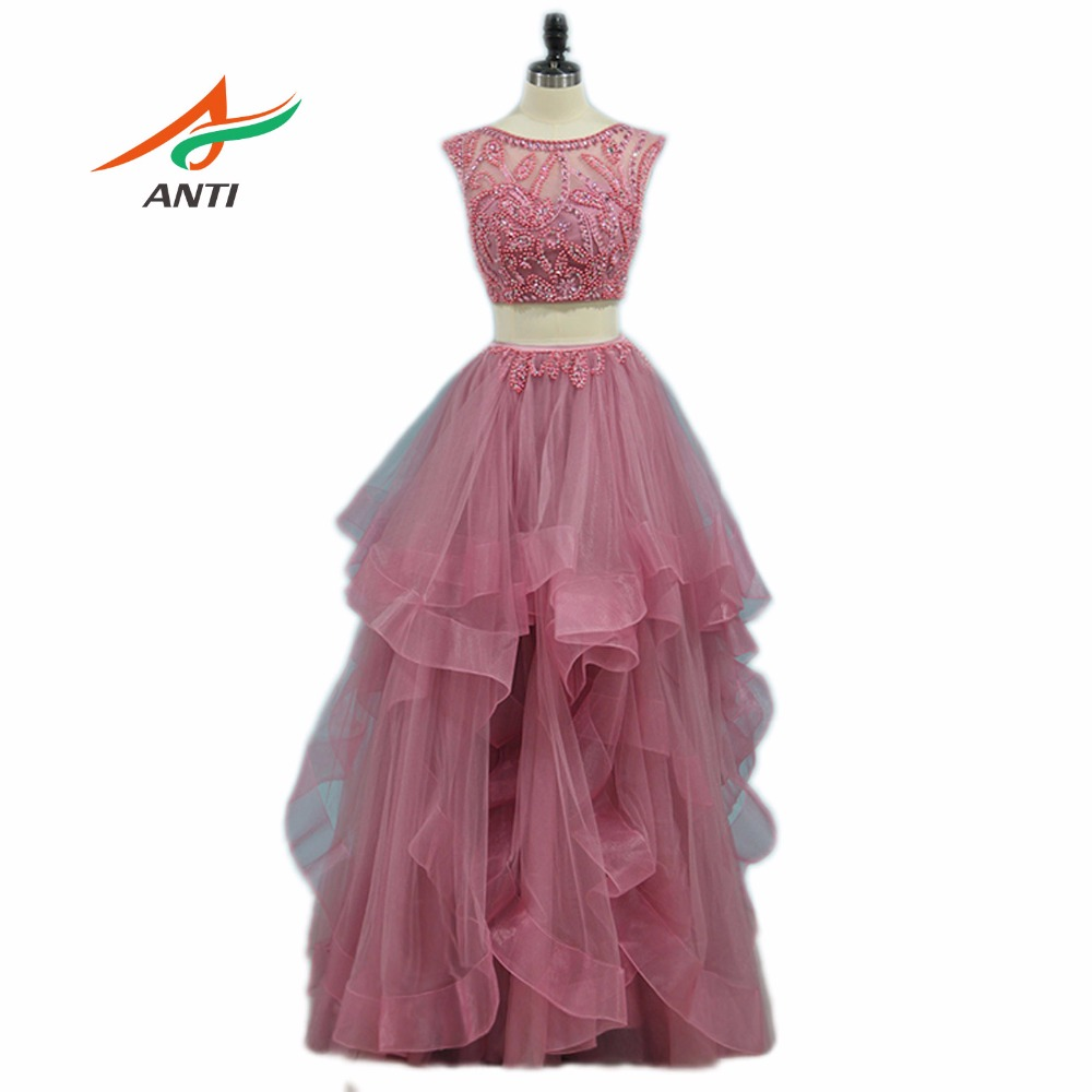 ANTI High-quality A-Line   Prom     Dresses   2018 Two Pieces Split Full beading Vestidos De Festa Sexy Party Formal Gowns Custom Made