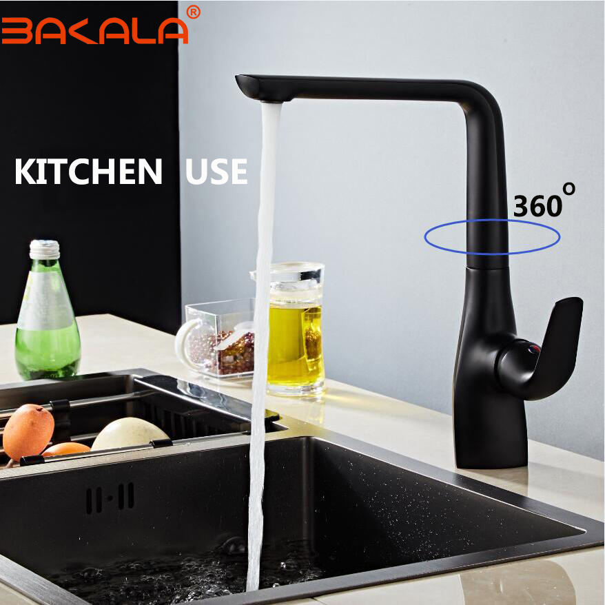 Pure Black Kitchen Faucet 360 Ronating Blackend Sink Tap Cold And Hot Kitchen Mixer Tap Blackened Kitchen/Bathroom Faucet Mixe