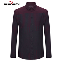 Seven7 New Long Sleeve Dress Shirt Men Striped Slim Fit Male Social Casual Business Shirt Brand