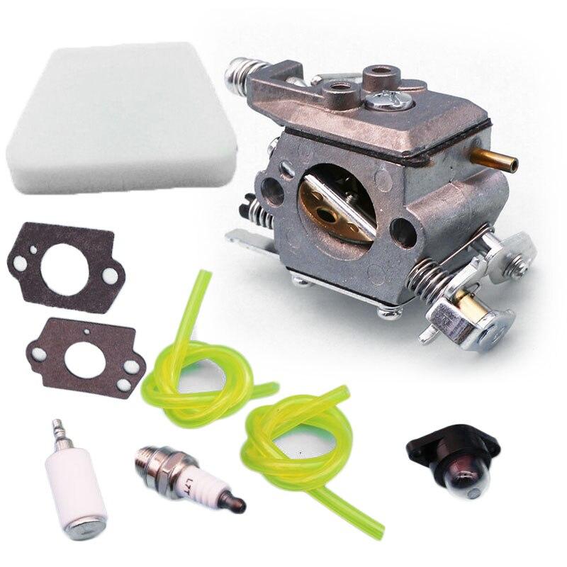 For Poulan 1950 2050 Carburetor Kit 2150 2375 Chainsaw Spark Plug Air Filter Fuel Filter Primer Bulb Mounting Gaskets