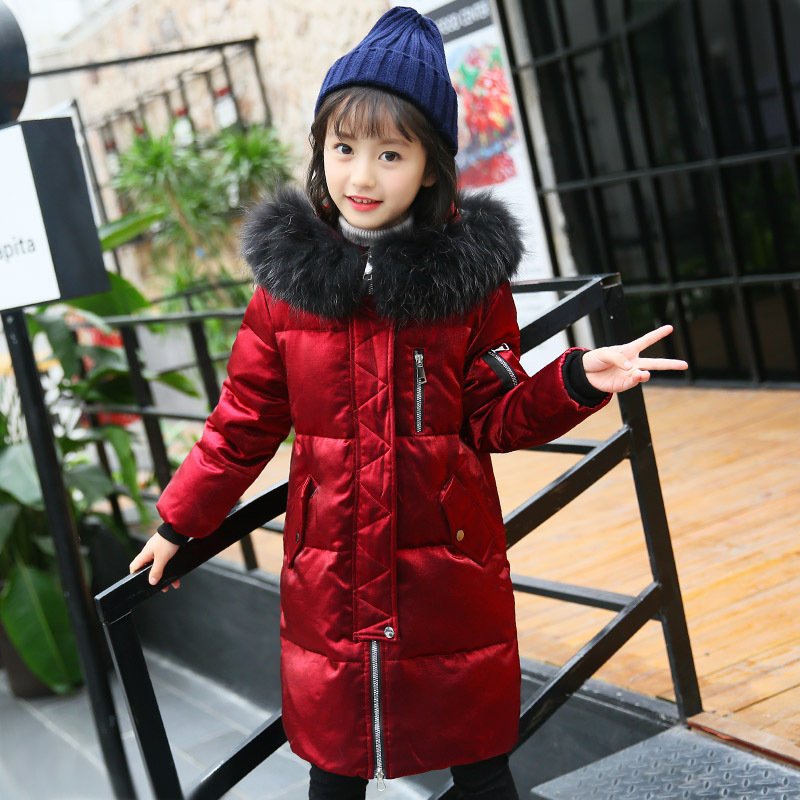 Christmas big girls white duck down jacket winter long jackets children outerwear coats fashion thick warm big collar overcoat fashion 2017 girl s down jackets winter russia baby coats thick duck warm jacket for girls boys children outerwears 30 degree