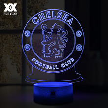 LED Chelsea Football Club 3D Lamp USB 7 Color Cool Glowing Base Home Decoration Table Lamp Children Bedroom Night Lights