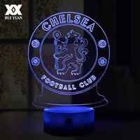 LEVOU Lâmpada Chelsea Football Club 3D USB 7 Cor Fria Brilhante Base de Candeeiro de Mesa de Decoração Para Casa Crianças Quarto Luzes Da Noite