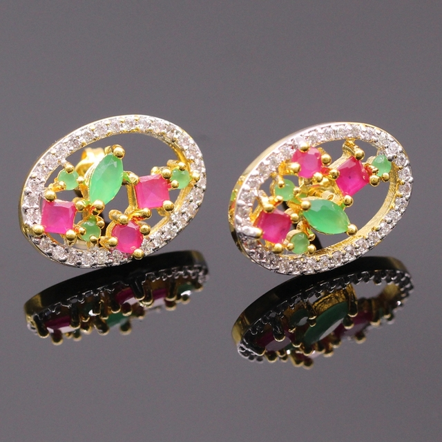 Fashion Jewelry Natural  Red & Green Zircon AAA Zircon Oval Double Color Gold Plated Earring Bijoux For Women E12-3