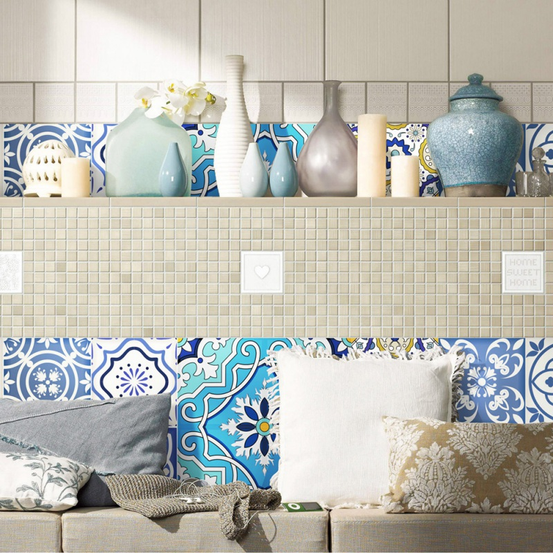 20Pcs/Pack DIY Mosaic Tiles 3D Wall Stickers Waist Line Wall Sticker Kitchen Adhesive Bathroom Toilet Waterproof PVC Wallpaper
