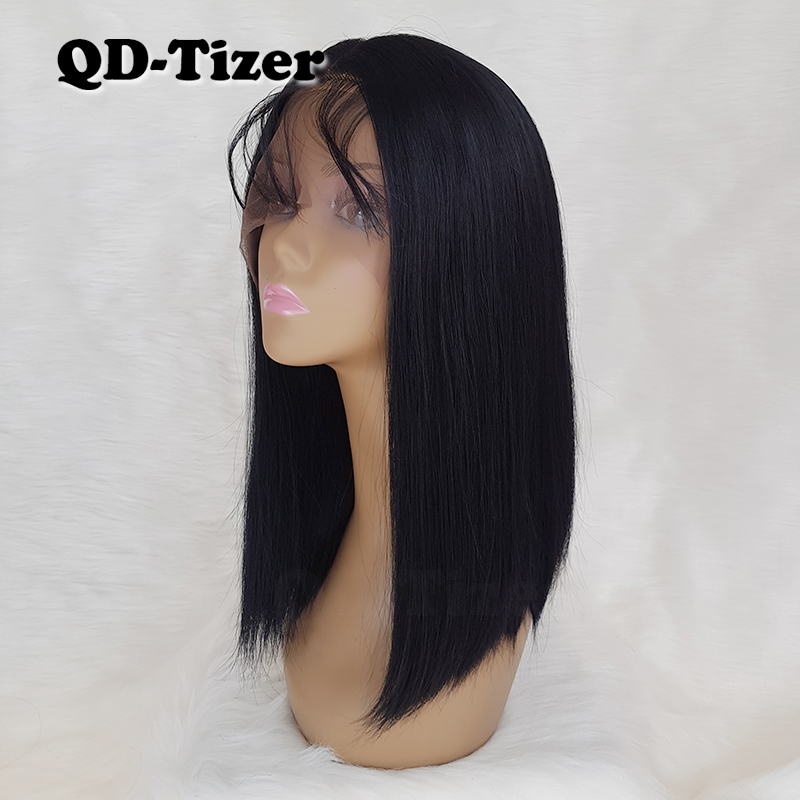 Short Straight Hair Black BOB Lace Front Wigs baby Hair Natural Hairline Synthetic Lace Front Wig