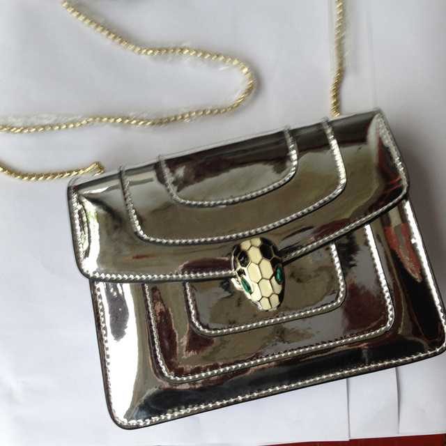 Women Bag Metal Snake Head Lock Small Square For Shoulder Bags Gloss Mirror Cowhide