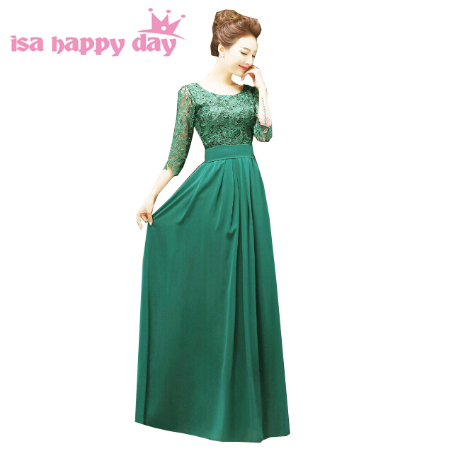 2018 hot sale ladies half sleeve floor length bridesmaid sister of the bride dresses lace dark green long dress wedding B2853