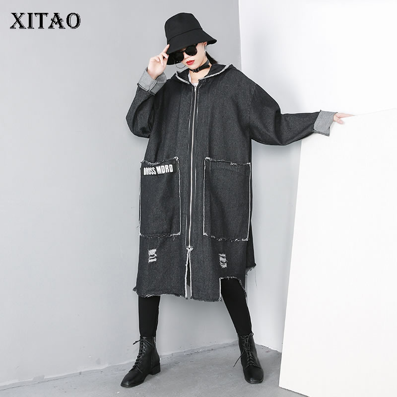 [XITAO] Female Spring 2019 New Casual Coat Europe Fashion Full Sleeve Hooded Collar Pocket Solid Color Long   Trench   ZLL3208