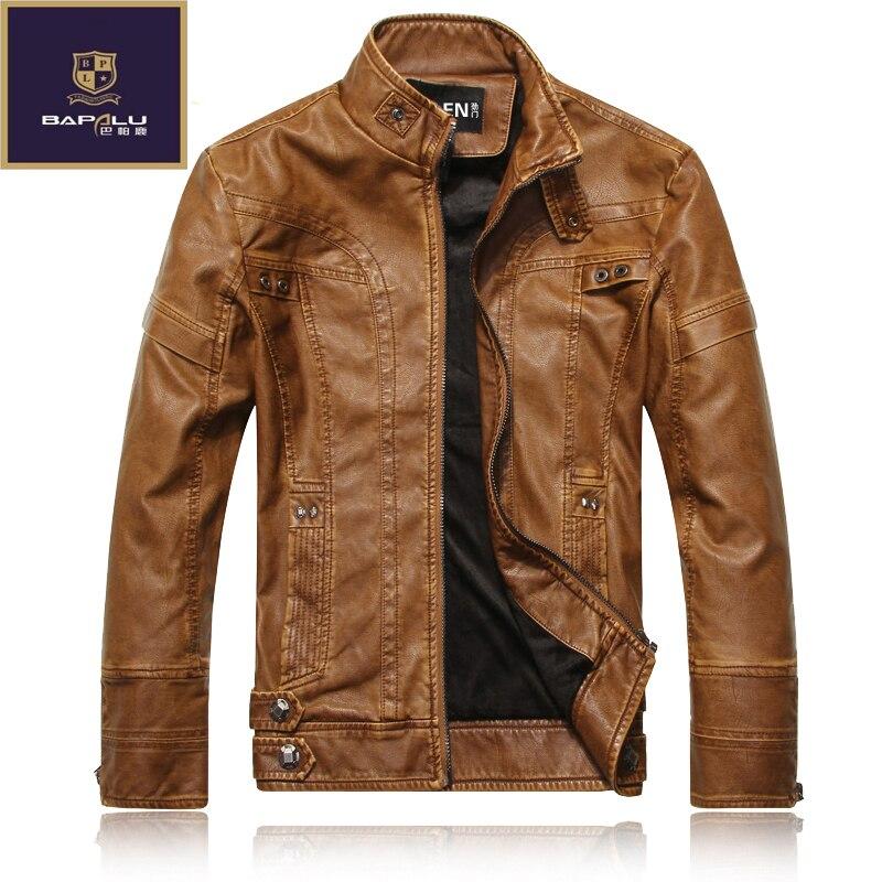 Новая кожаная куртка мужская Slim с коротким воротником jaqueta couro куртка-бомбер кожаная куртка замшевые мотоциклетные кашемировые пальто курт...
