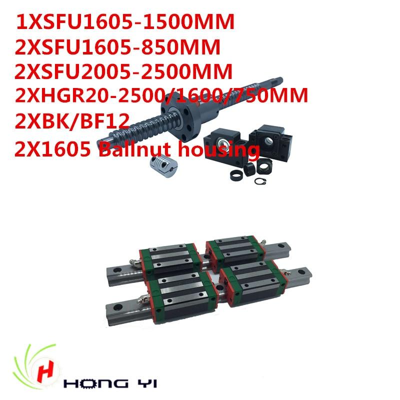 2xHGR20 Square Linear guide sets 750/1600/2500MM+2xSFU/RM1605 Ballscrew 850/1500MM +1pcs sfu2005-2500MM+ 2pcsBK BF12+2pc housing 6 x hiwin hgh15 square linear guide sets 5 x sfu rm1605 ballscrew sets bk bf12 couplings