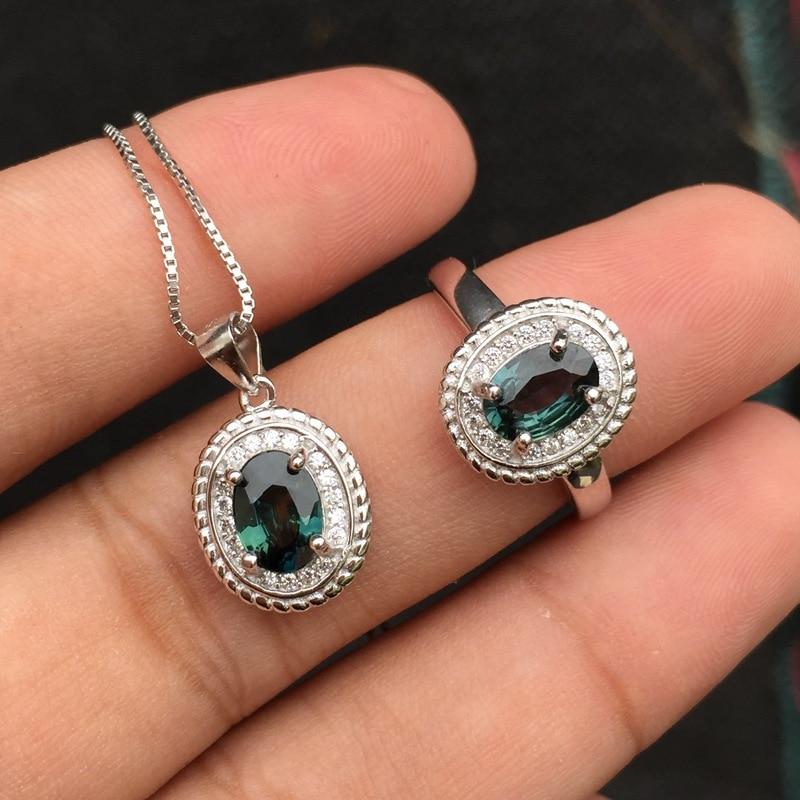 Boutique boutique bijoux 925 pur argent avec saphir naturel pendentif collier ensemble de bagues nouveau style robe chrysanthème antique