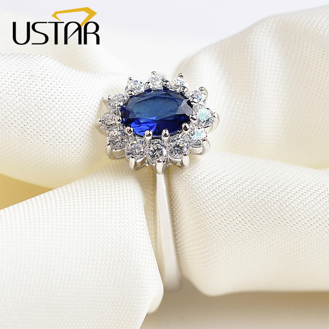 USTAR Princess Blue AAA Zircon Wedding Rings for women Silver color Austria Crystals mood Rings female anel bijoux top quality