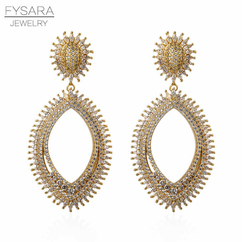 FYSARA Luxury Series AAA Crystalr Big Geometric Drop Earrings For Women Wedding Party Middle East Jewelry 2019 New Arrivals
