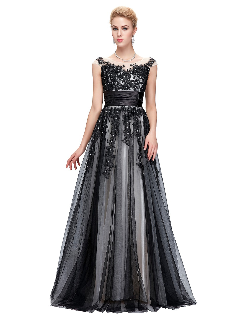 robe de soiree longue sexy lace applique evening dresses long ball gown luxury black evening. Black Bedroom Furniture Sets. Home Design Ideas
