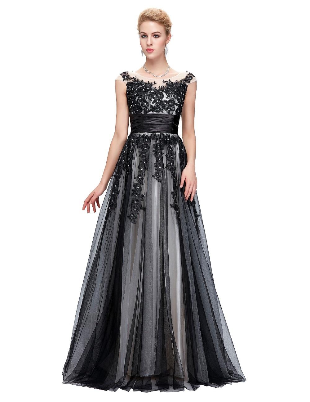 Robe De Soiree Longue Sexy Lace Applique Evening Dresses