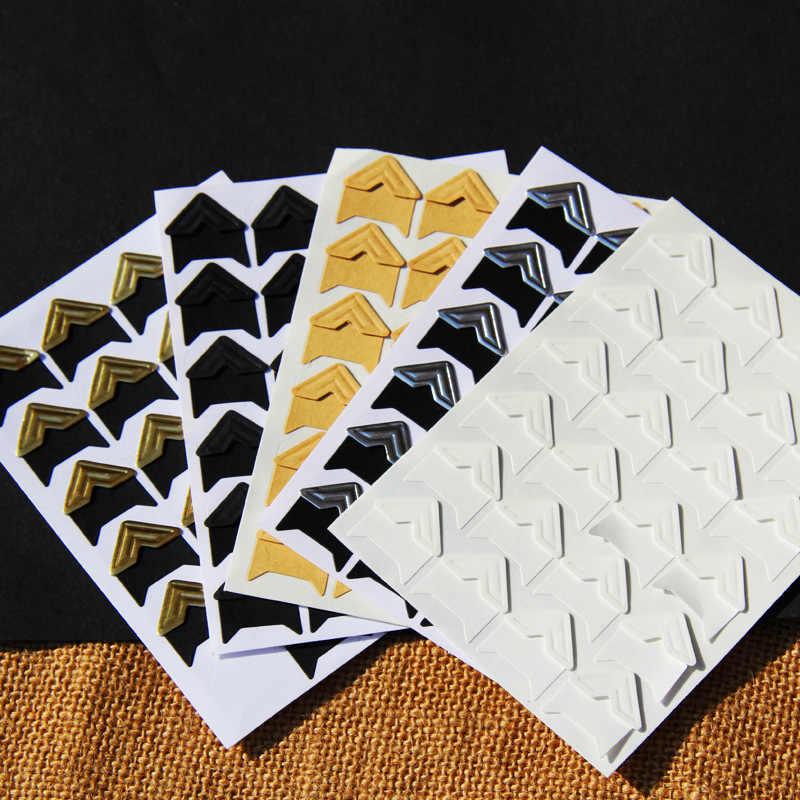 120 cái/lốc (5 tờ) Vintage Giấy Kraft Góc dán Thêu Sò Album Ảnh Khung DIY Trang Trí, vàng/Trắng/Đen ..