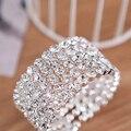 5-Row Nupcial Do Casamento Grande Cristal Strass Tênis Claro Rodada Side Abrir Cuff Bangle Bracelet Pulseira para Mulheres HOT Sale 2016