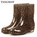 Tangnest 2017 Fashion Woman Colorful Rubber Shoes Round Toe Low-heel  Ankle Rain Boot Women Water Shoes Big Size 36-40,XWX511