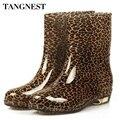 Tangnest 2017 moda mulher colorido sapatos de borracha dedo do pé redondo baixo-ankle boots de salto mulheres botas de chuva sapatos de água tamanho grande 36-40, xwx511