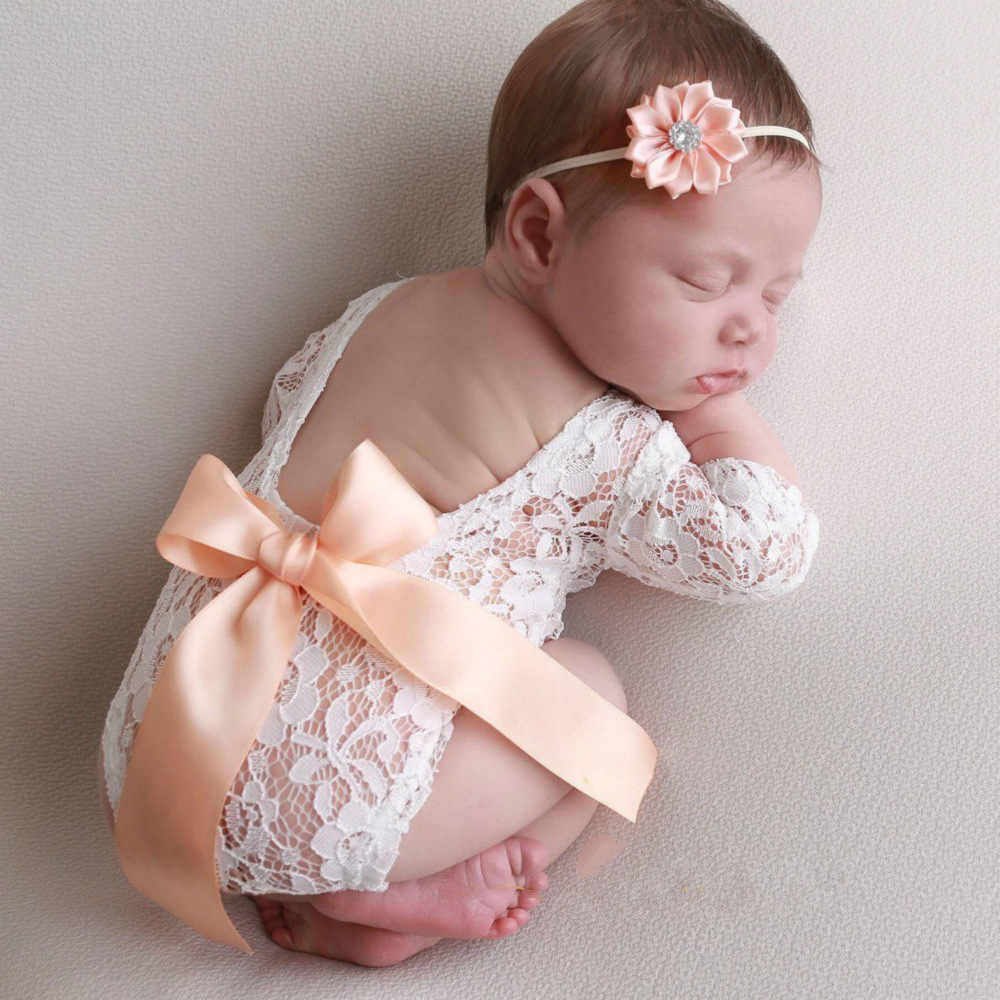 2020 New Newborn Photography Props Baby Lace Romper Headband Fotografia Princess Costumes Clothes For Infantil Girls Accessories