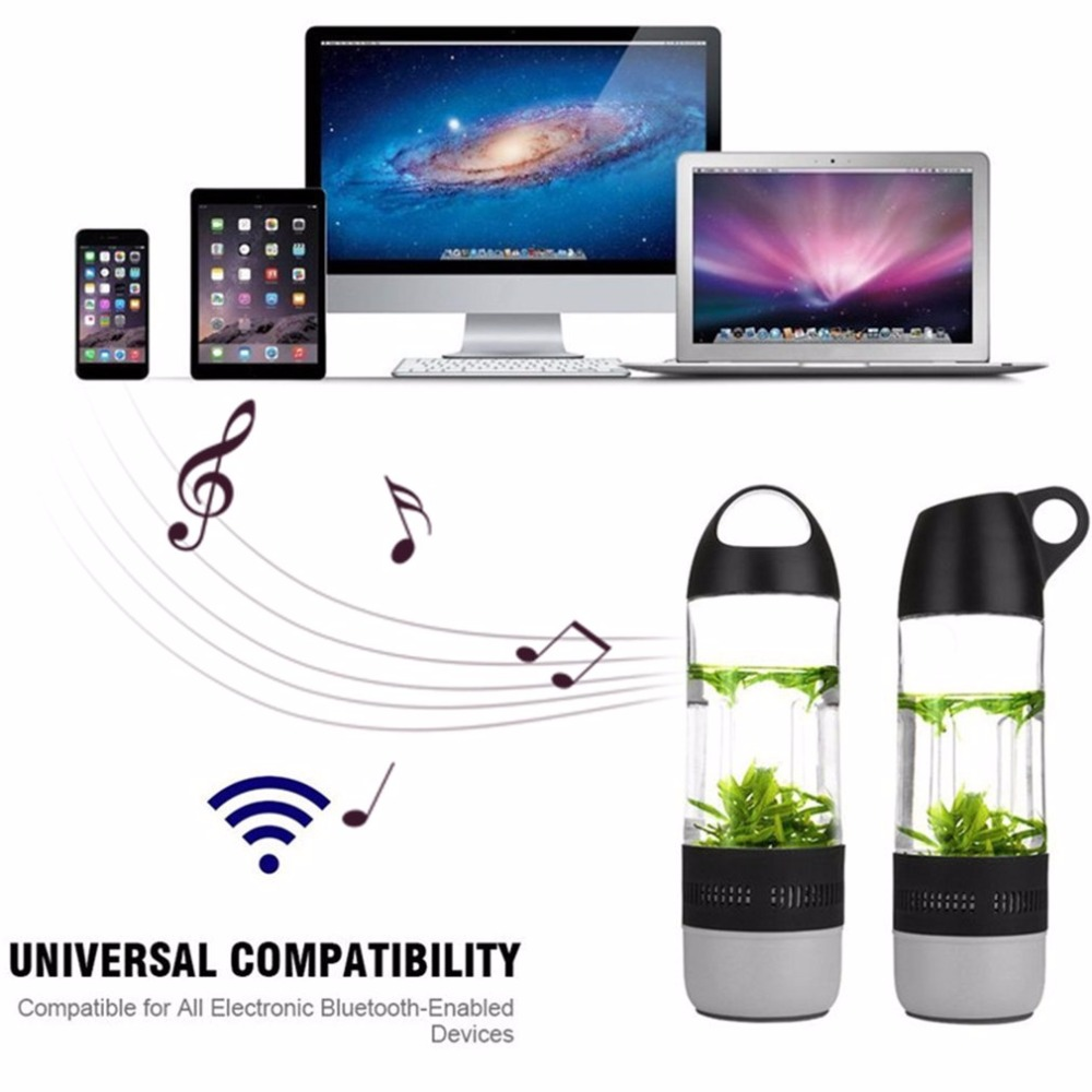 Wireless Bluetooth Water Speaker Cups Bottle With Compass Speaker Waterproof IPX4 Travel Outdoor Sound Stereo Music Player Box