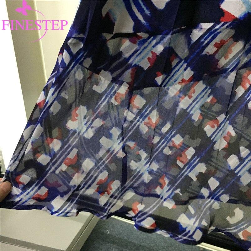 Linie bedruckte Frauen Blumenkleid Marineblau hochwertige Mode Silk knielangenrmellose 2019 A MGVSqUzp