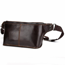 High Quality Oil Wax Cowhide Men Belt Fanny Pack Genuine Leather Crossbody Sling Bags Vintage Casual Hip Bum Chest Waist Bag