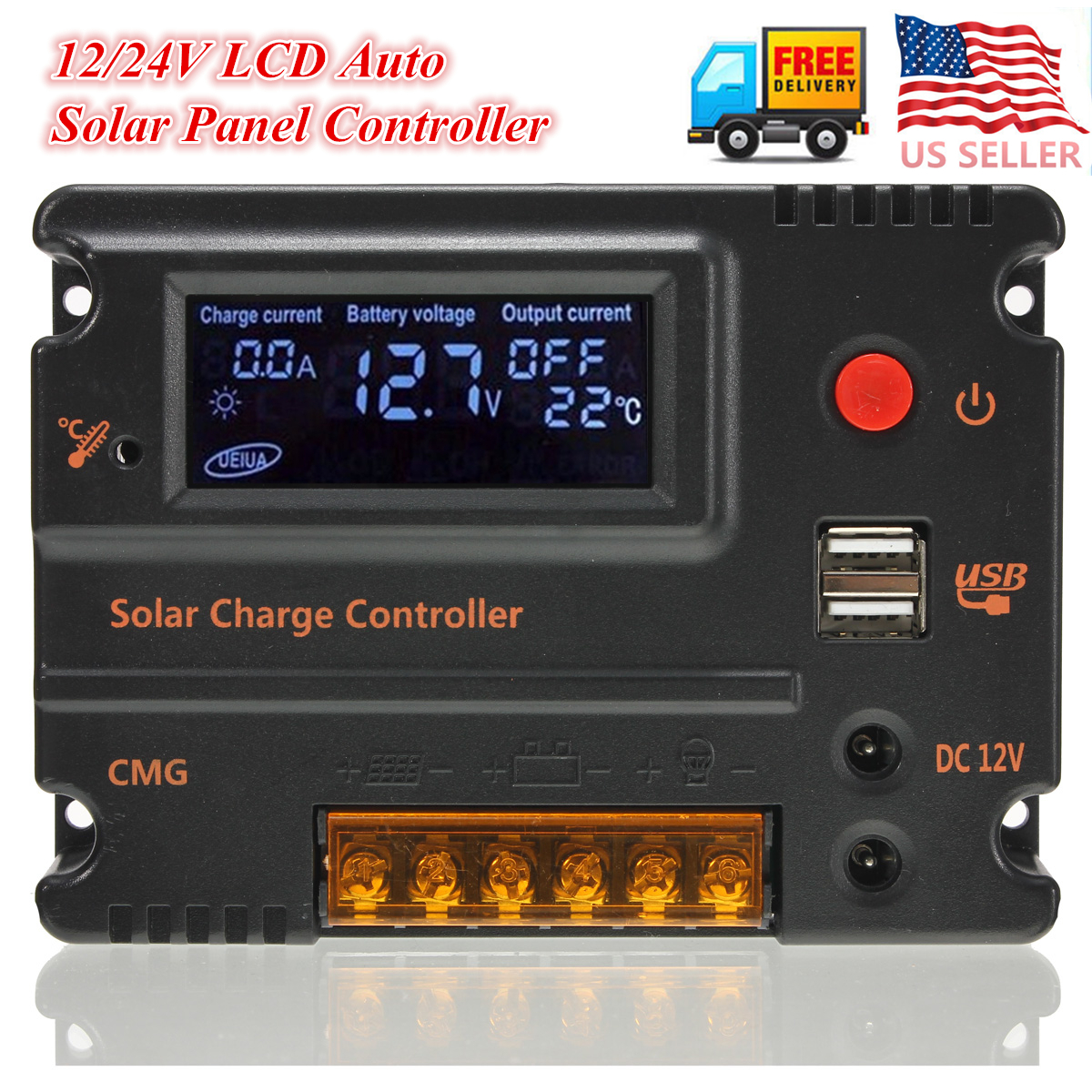 10A 12V-24V LCD Display PWM Solar Panel Regulator Charge Controller USB maylar 30a pwm solar panel charge controller 12v 24v auto battery regulator with lcd display