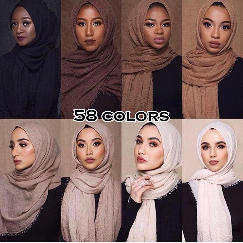 women plain maxi hijab shawl ripple scarf wrinkle muslim scarves and shawls fringe long wrap soft