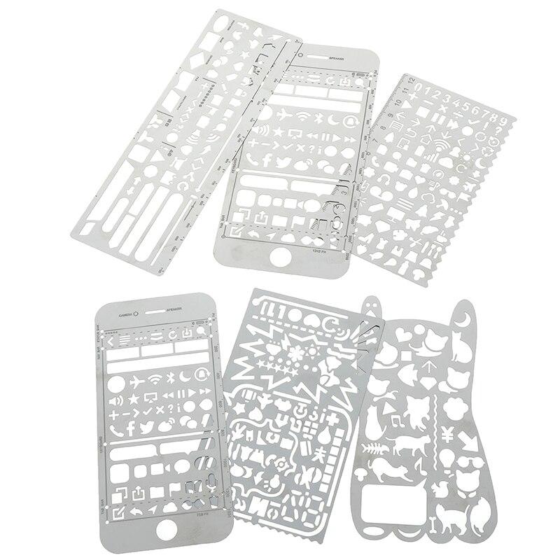 1pc Cat Phone Pattern Metal Template Ruler Multifunctional Bookmark Ruler Hollow Ruler Drawing Tool Kawaii