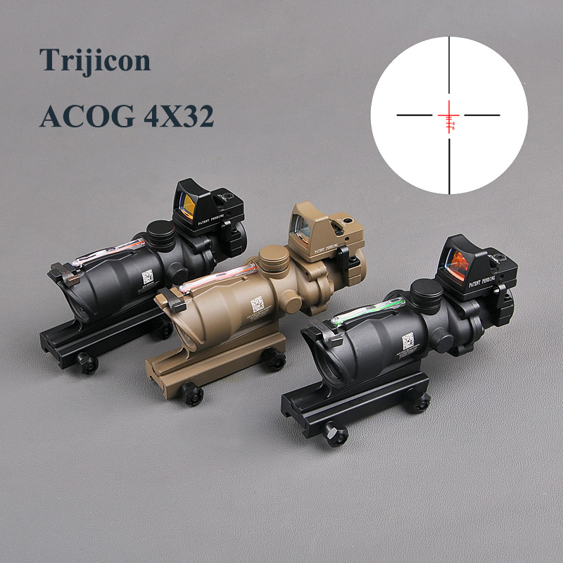 Trijicon ACOG 4X32 Real Reticle Fiber Optic Scope Red Illuminated Sight With RMR Mirco Red Dot Sight 20mm Rail Hunting Scopes hunting 4 x 32 compact rifle scope fiber sight red dot scope with fiber optic sight for 20mm rail ulitity