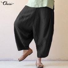 4ca839e8aa Mujeres pantalones de lino de la vendimia 2018 Celmia verano Baggy Harem pantalones  elástico cintura Casual pantalones sueltos P..