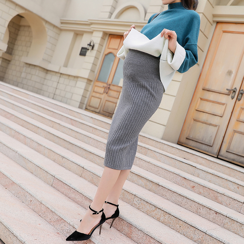 65bb0d127a033 US $14.71 47% OFF|Pengpious 2019 winter maternity high waist abdominal open  fork knitted skirts pregnant women back split slim hips belly skirts-in ...