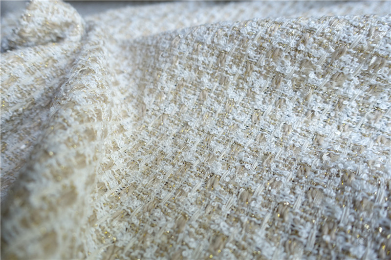 Free ship beige and camel golden line weaved tweed fabric price for ...