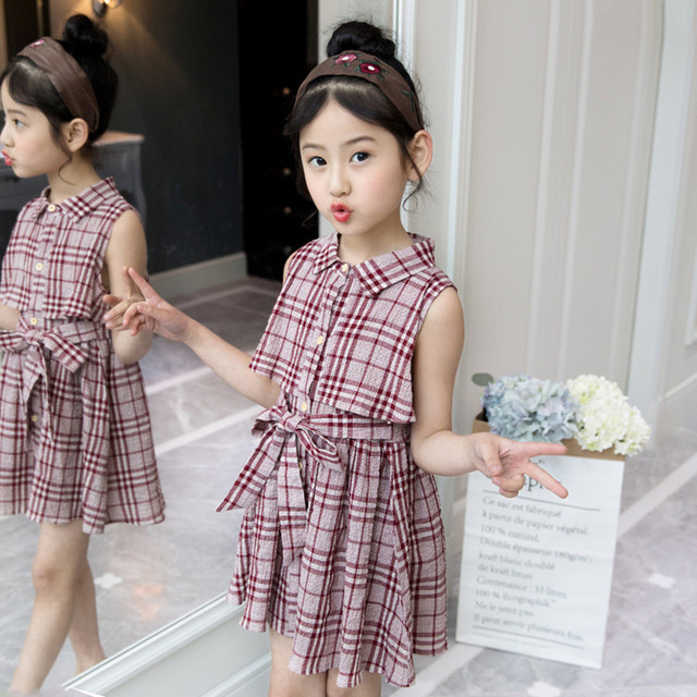 19bbd4fffa6 Mottelee Plaid Girls Dress Cotton Baby Summer Dresses Design Kids Casual  Frocks Fashion Girl Classic Clothing for 4 to 11 Years
