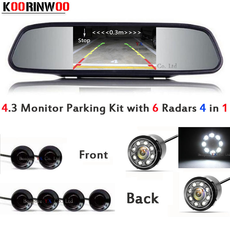 KOORINWOO 4 in Car parking Sensor Video Reverse Radars Parktronic with car Rear view camera car front camera Mirror Night Vision