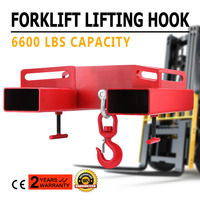 3 Tonne Large Forklift Lifting Hook Attachment 3000kg Telehandler Crane Jib Test Cert