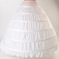 White Petticoat Ball Gown Under Skirt Puffy Wedding Dress 6 Hoops Crinoline Underskirt Quinceanera Petticoat Jupon Long Saiote
