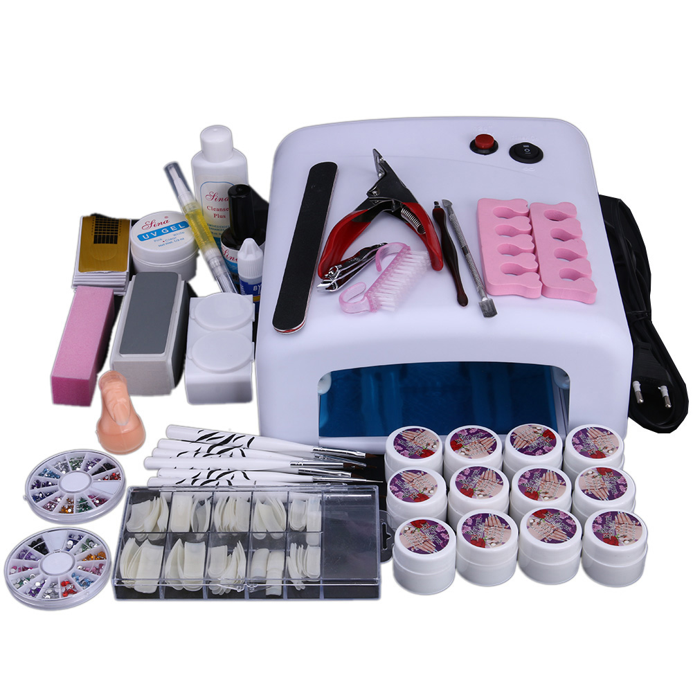 Nail Art Equipment Set 36W UV Gel Nail Polish Dryer with Nail Painting Brushes False Nail Tips 3D Decorations Manicure Glue лоферы mango man mango man he002amzsf07