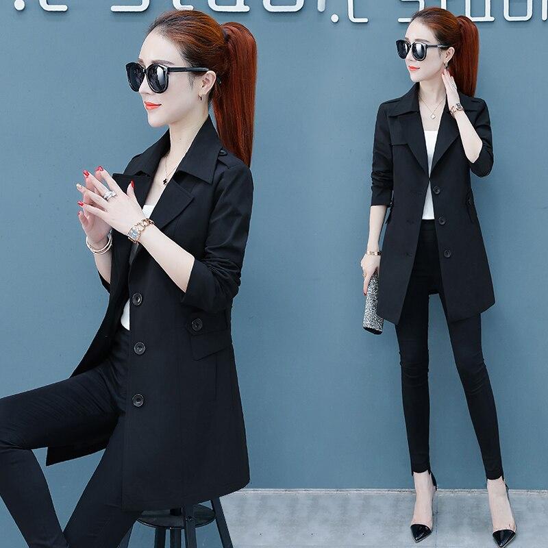 Femmes Automne Mince Tranchée Solide Costume Red Nouvelle vent khaki Printemps Coréenne Manteau Mode 2018 black Longues De Col Coupe Outwear d5xFZ1qwA