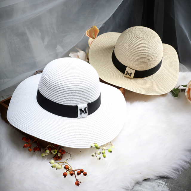 25a602da dropshipping Hot sale M letter Seaeside sun hats for women summer large  brimmed straw hat folding beach girls sun hat wholesale