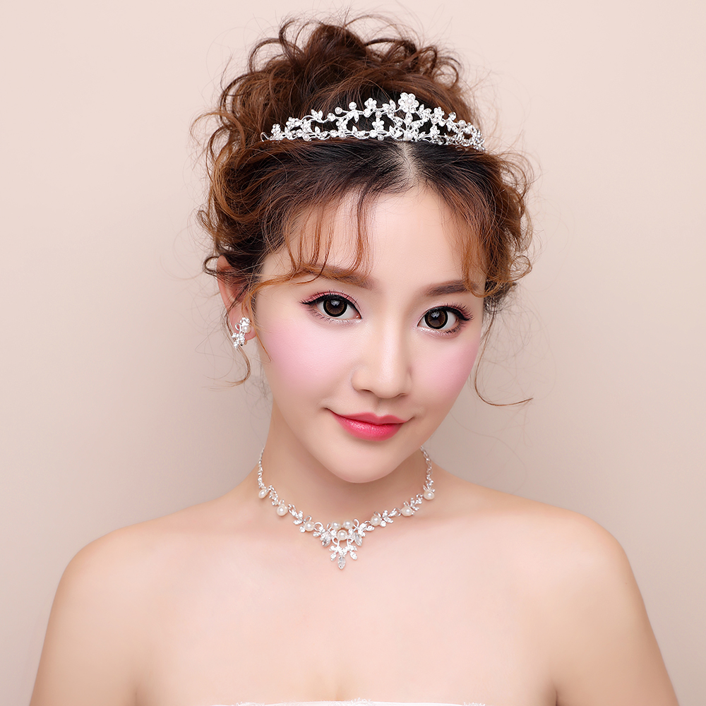Simulated Pearl Rhinestone Floral Crown Tiara Bridal Necklace Earrings Wedding Jewelry Sets Gifts Girls Princess Prom Jewellery