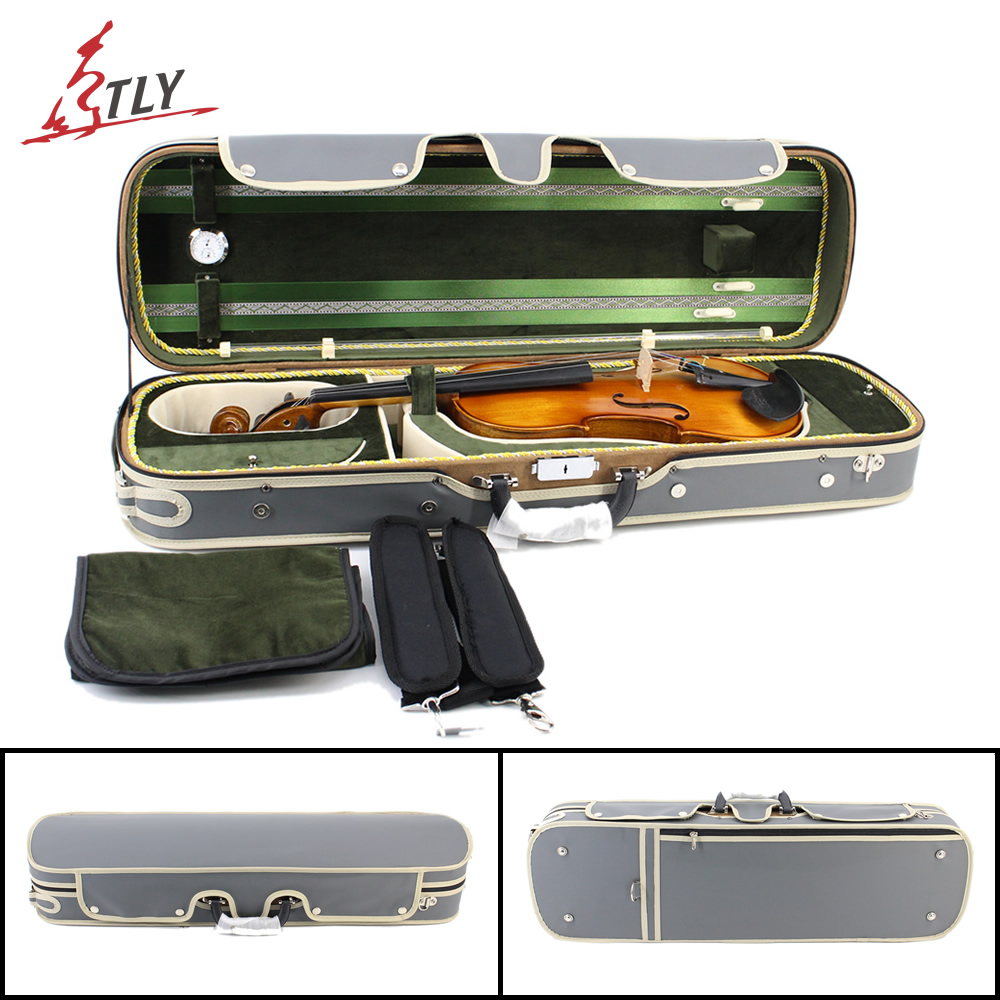 High Grade Rectangle Violin Case Plywood & Gray Imitation Leather+Green Pleuche w/ Belt for 4/4 3/4 1/2 1/4 1/8 Violin high grade pleuche rectangle violin case 4 4 3 4 1 2 1 4 w hygrometer black oxfordbuit in high quality violino case