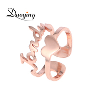 Duoying Cut Out Custom Name Ring With Heart For Etsy Rose Gold Tone Double Line Stacking