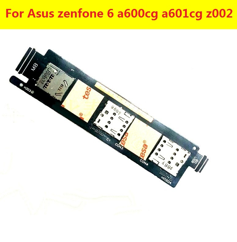 Single Dual Sim Card Tray Reader Flex Cable For Asus Zenfone 6 A600cg A601CG Z002 Sim Card Slot Holder Adapter Flex Ribbon Parts