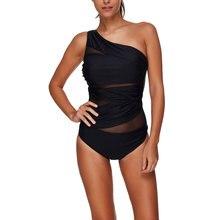 2018 Sexy One Piece Swimsuit Women Black Net Yarn Bathing Suits Charming Single Shoulder Strap Beach Swim Wear Vintage Monokini