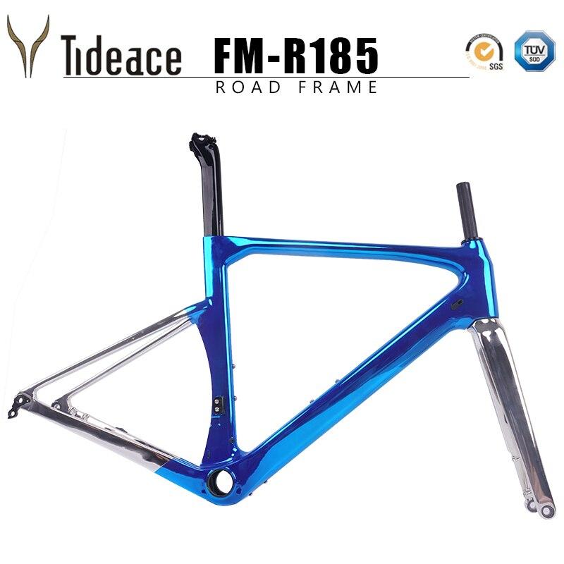 Updated Plating paint 140mm carbon road frame 142mm or 135mm carbon fiber road bike frame Di2 carbon bicycle frameset disc brake