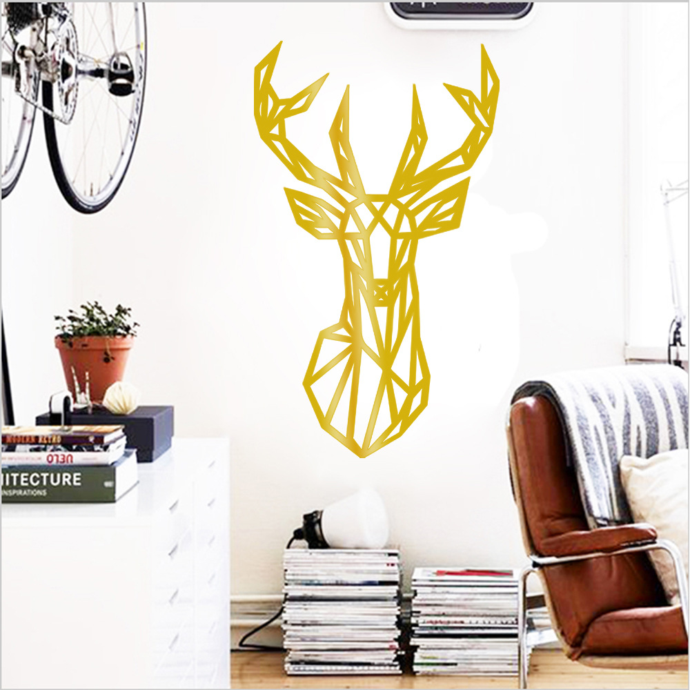 OS1558 2016 Hot Animals Removable Wallpaper Geometry Lines Deer Wall ...
